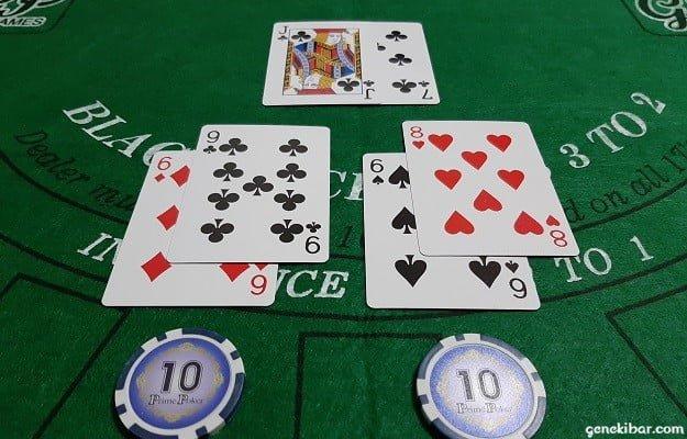 ディーラー17、プレイヤー15と14でプレイヤーの敗北