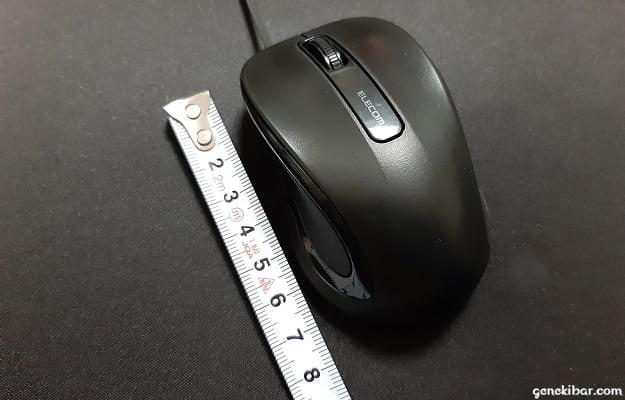 エレコムの有線巻き取り式マウス(Reel)の大きさ