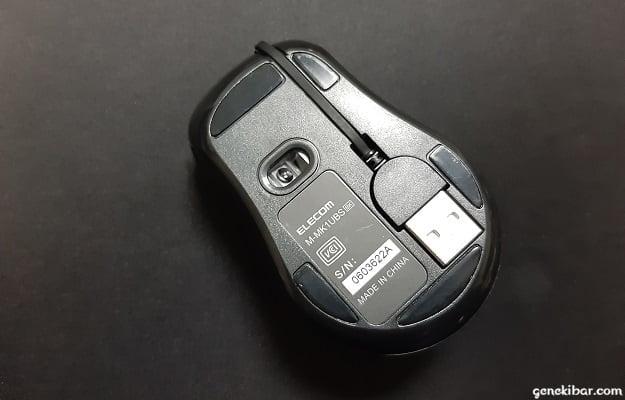 エレコムの有線巻き取り式マウス(Reel)の裏側