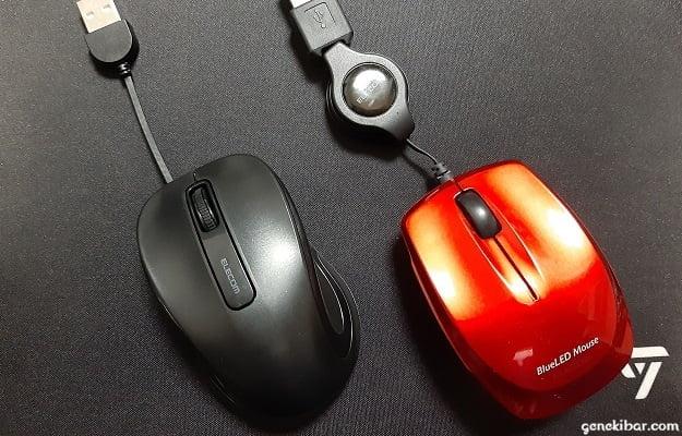エレコムの有線巻き取り式マウスの新型と従来品
