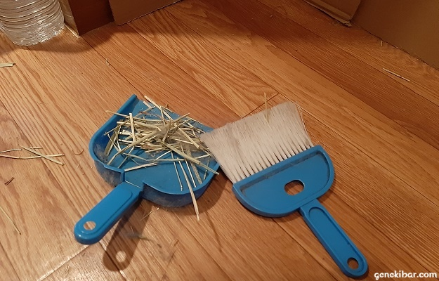 ほうきとちりとりで床を掃除