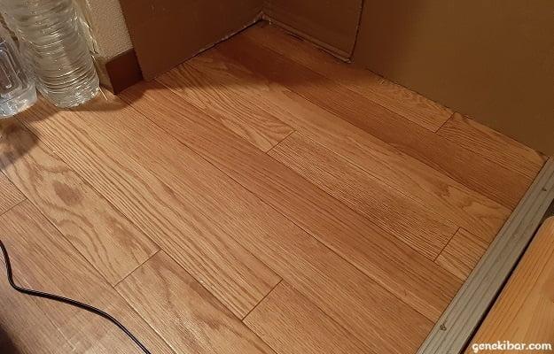 掃除後のうさぎの小屋が置いてあった床