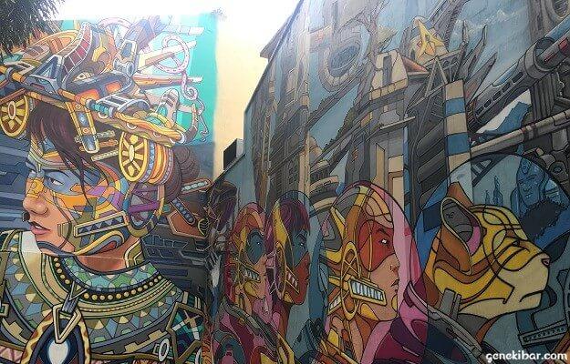 アラブストリートの壁画