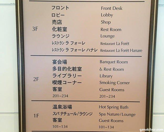 箱根ハイランドホテルの案内板