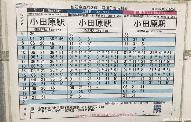 仙石高原のバス停時刻表