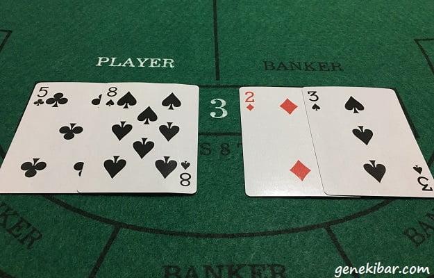 バカラでプレイヤーが3、バンカーが5