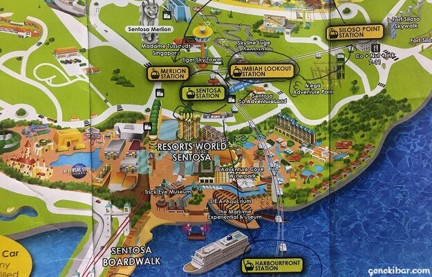 セントーサ島とケーブルカーの地図