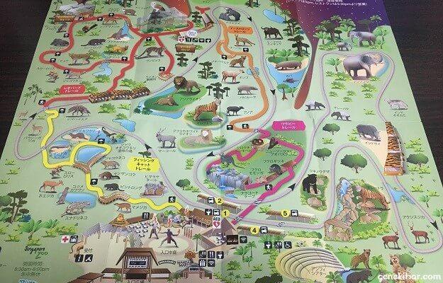 ナイトサファリの園内地図