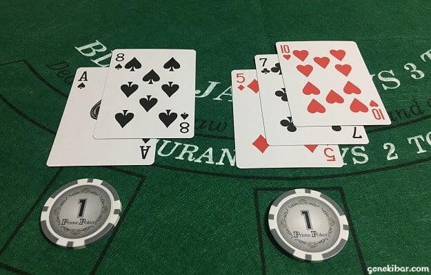 カードのAと8、5と7と10