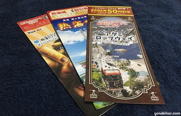 熱海観光地の割引券付きパンフレット