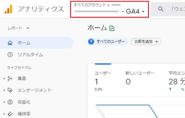 グーグルアナリティクスのアカウント選択