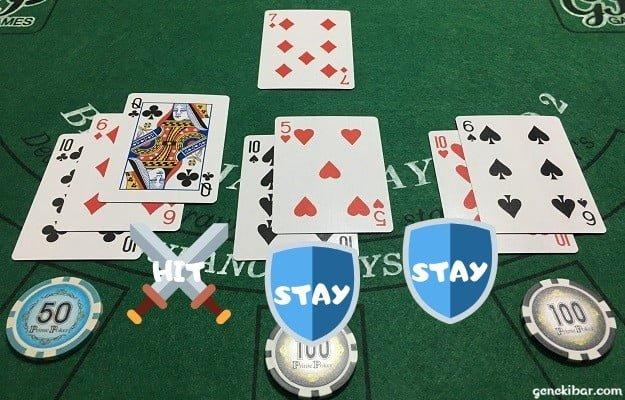 ブラックジャックで中右の手を守り、左の手は攻める作戦