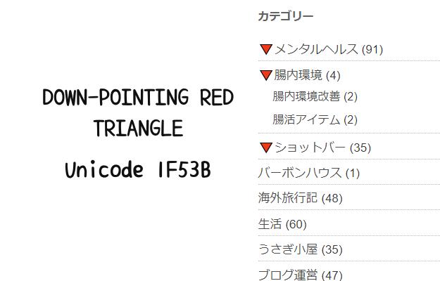 赤い逆三角形の開閉ボタン