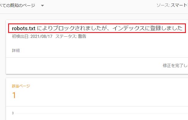 robots.txtによりブロックされましたが、インデックスに登録しました