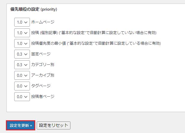 変更した「XML Sitemaps」の優先度の順位