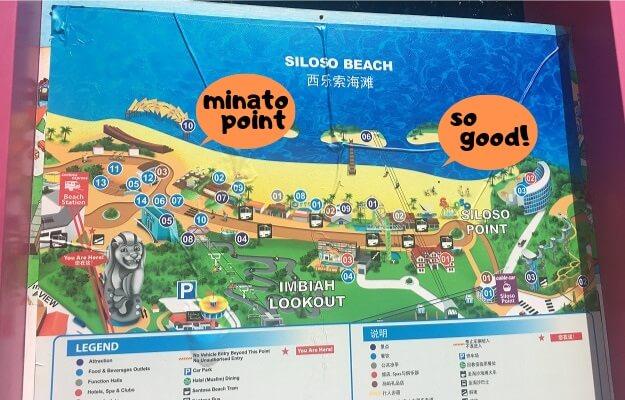 シロソビーチの見所の地図
